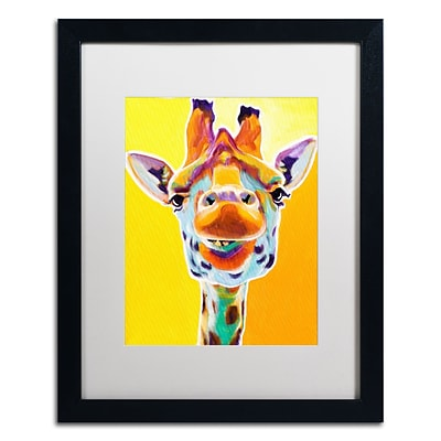 Trademark Fine Art ALI0594-B1620MF Giraffe No. 3 by DawgArt 20 x 16 Framed Art, White Matted
