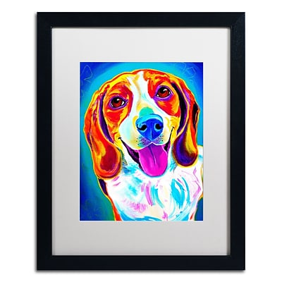 Trademark Fine Art ALI0572-B1620MF Lucy by DawgArt 20 x 16 Framed Art, White Matted
