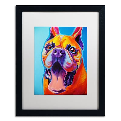 Trademark Fine Art ALI0548-B1620MF Tyson by DawgArt 20 x 16 Framed Art, White Matted