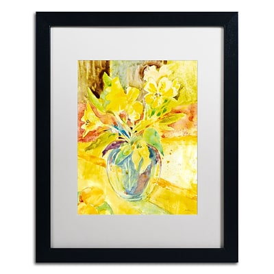 Trademark Fine Art SG5699-B1620MF Vase with Yellow Flowers by Sheila Golden 20x16 FRM Art, WHT MTD
