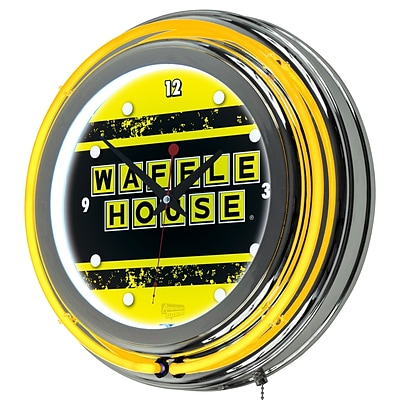 Trademark Global Waffle House AR1400-WAFF-V 14.5 Yellow Double Ring Neon Clock, Vintage