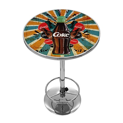 Trademark Fine Art Coca Cola Brazil COKE-2000-BZ3 42 Metal Chrome Splash Coke Bottle Pub Table