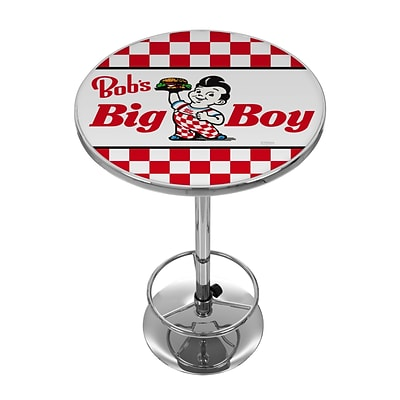 Trademark Fine Art Bobs Big Burger AR2000-BOB-C 42 Metal Chrome Pub Table; Checkered