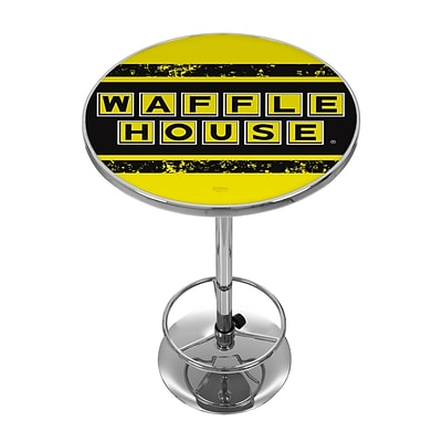 Trademark Fine Art Waffle House AR2000-WAFF-V 42 Metal Chrome Pub Table; Vintage