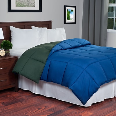 Lavish Home 64-14-T-GN Twin Reversible Down Alternative Comforter, Green/Navy