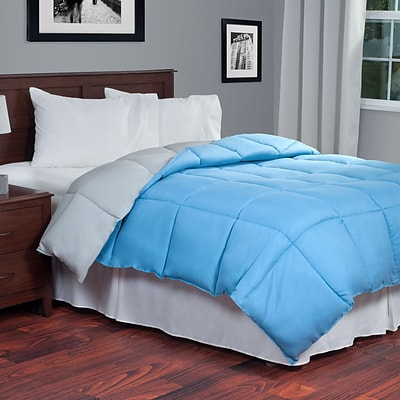 Lavish Home 64-14-K-BG King Reversible Down Alternative Comforter, Blue/Gray
