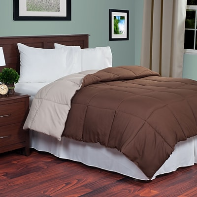 Lavish Home 64-14-T-CT Twin Reversible Down Alternative Comforter, Chocolate/Taupe