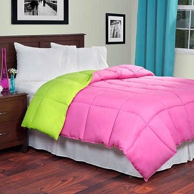 Lavish Home 64-14-K-PSG King Reversible Down Alternative Comforter, Pink/Lime