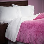 Lavish Home 61-83-FQ-P Full/Queen Floral Etched Blanket, Pink