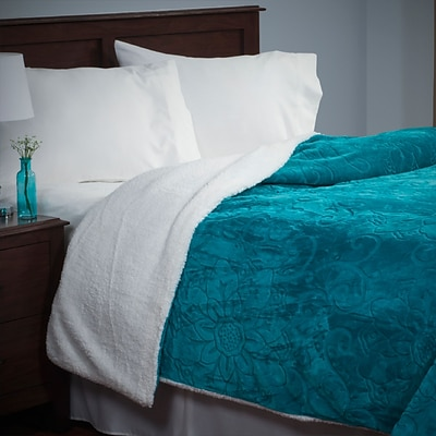 Lavish Home 61-83-K-B King Floral Etched Blanket, Teal