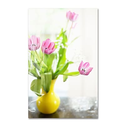 Trademark Fine Art LBR0279-C2232GG Pink Tulips in Yellow Vase by Lois Bryan 32 x 22 FRMLS Art