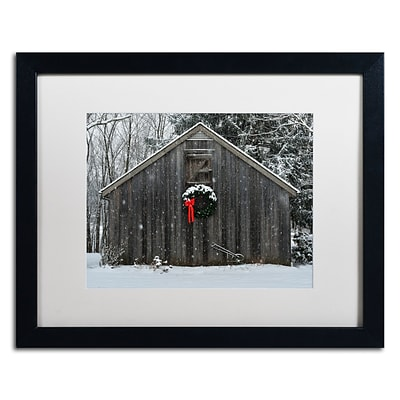 Trademark Fine Art KS0161-B1620MF Christmas Barn in the Snow by Kurt Shaffer 16x20 FRM Art, WHT MTD
