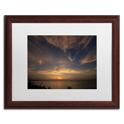 Trademark Fine Art Another Amazing Sunset on Lake Erie by Kurt Shaffer 16x20 FRM Art, WHT MTD (KS0168-W1620MF)