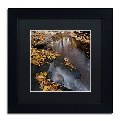 Trademark Fine Art Lakeview Autumn Waterfall #2 by Kurt Shaffer 11x11 FRM Art, BLK MTD (KS0141-B1111BMF)
