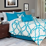 Lavish Home 66-13-KBLU 7-Piece King Oversized Trellis Comforter Set, Blue, 7/Set