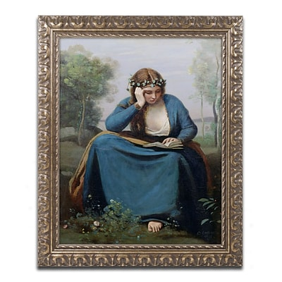 Trademark Fine Art BL0435-G1620F The Reader with Flowers by Jean Baptiste Corot 20 x 16 FRM Art
