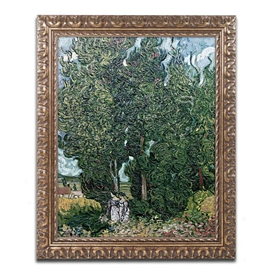 Trademark Fine Art BL0903-G1620F The Cypresses by Vincent van Gogh 20 x 16 Framed Art
