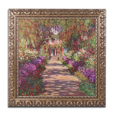 Trademark Fine Art BL01173-G1616F A Pathway in Monets Garden by Claude Monet 16 x 16 Framed Art