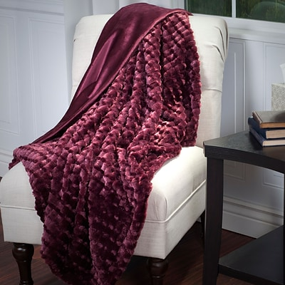 Lavish Home 61-70-BU Plush Striped Embossed Faux Fur Throw, Burgundy