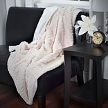 Lavish Home 61-70-BE Plush Striped Embossed Faux Fur Throw, Beige