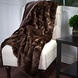 Lavish Home 61-74-BR Luxury Long Haired Faux Fur Throw, Brown