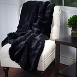 Lavish Home 61-74-BL Luxury Long Haired Faux Fur Throw, Black