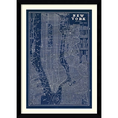 Amanti Art Blueprint Map New York Framed Art Print