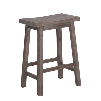 Boraam 24 Sonoma Solid Hardwood Saddle Stool, Gray Wire-Brush