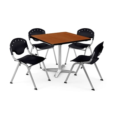 OFM PKG-BRK-020-0001 42 Square Laminate Multi-Purpose Table with 4 Chairs, Cherry Table/Black Chair