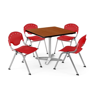 OFM PKG-BRK-019-0002 36 Square Laminate Multi-Purpose Table with 4 Chairs, Cherry Table/Red Chair