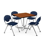 OFM PKG-BRK-019-0005 36 Square Laminate Multi-Purpose Table with 4 Chairs, Cherry Table/Navy Chair