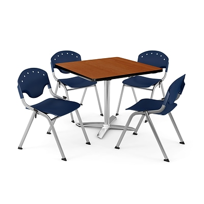OFM PKG-BRK-020-0005 42 Square Laminate Multi-Purpose Table with 4 Chairs, Cherry Table/Navy Chair