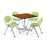 OFM PKG-BRK-020-0006 42 Square Lam Multi-Purpose Table w/ 4 Chairs, Cherry Table/Lime Green Chair