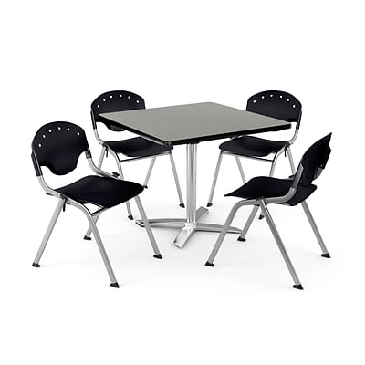 OFM PKG-BRK-019-0007 36 Square Lam Multi-Purpose Table w/ 4 Chairs, Gray Nebula Table/Black Chair