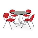 OFM PKG-BRK-019-0008 36 Square Lam Multi-Purpose Table w/ 4 Chairs, Gray Nebula Table/Red Chair