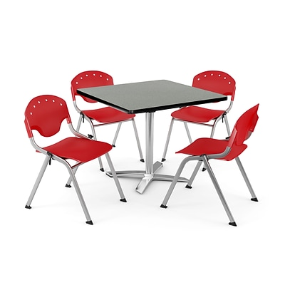 OFM PKG-BRK-020-0008 42 Square Lam Multi-Purpose Table w/ 4 Chairs, Gray Nebula Table/Red Chair
