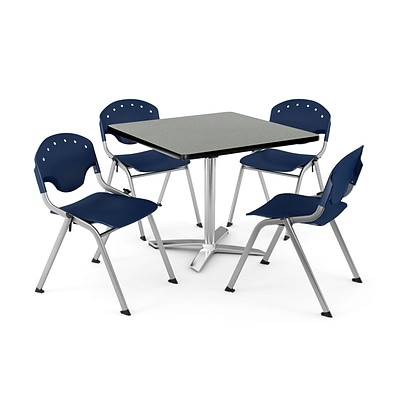 OFM PKG-BRK-020-0011 42 Square Lam Multi-Purpose Table w/ 4 Chairs, Gray Nebula Table/Navy Chair