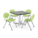 OFM PKG-BRK-020-0012 42 Square Lam Multi-Purpose Tbl w/ 4 Chairs, Gray Nebula Tbl/Lime Green Chair