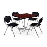 OFM PKG-BRK-019-0013 36 Square Laminate Multi-Purpose Table w/ 4 Chairs, Mahogany Table/Black Chair