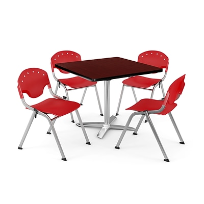 OFM PKG-BRK-020-0014 42 Square Laminate Multi-Purpose Table with 4 Chairs, Mahogany Table/Red Chair