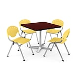 OFM PKG-BRK-020-0016 42 Square Lam Multi-Purpose Tbl w/ 4 Chairs, Mahogany Tbl/Lemon Yellow Chair