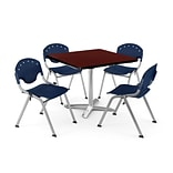 OFM PKG-BRK-020-0017 42 Square Laminate Multi-Purpose Table w/ 4 Chairs, Mahogany Table/Navy Chair