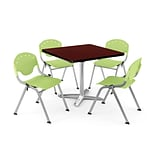 OFM PKG-BRK-019-0018 36 Square Laminate Multi-Purpose Table w/ 4 Chairs, Mahogany Table/Green Chair