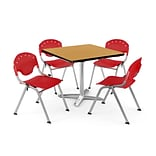 OFM PKG-BRK-019-0020 36 Square Laminate Multi-Purpose Table with 4 Chairs, Oak Table/Red Chair