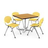 OFM PKG-BRK-020-0022 42 Square Lam Multi-Purpose Table w/ 4 Chairs, Oak Table/Lemon Yellow Chair