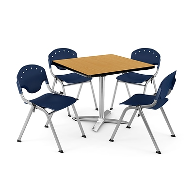 OFM PKG-BRK-020-0023 42 Square Laminate Multi-Purpose Table with 4 Chairs, Oak Table/Navy Chair