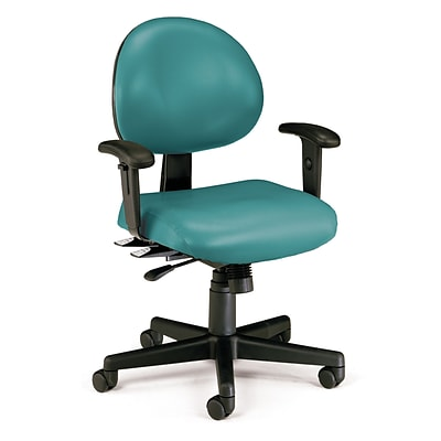 OFM 24 Hour Intensive Use Task Chair with Adjustable Arms, Teal Anti-Microbial Anti-Bacterial Vinyl (241-VAM-AA-602)