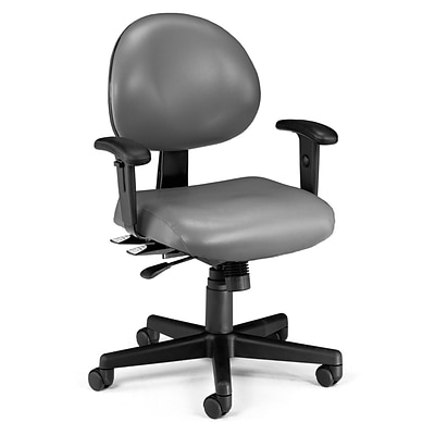OFM 24 Hour Intensive Use Task Chair with Adjustable Arms, Charcoal Gray Anti-Microbial Anti-Bacterial Vinyl (241-VAM-AA-604)
