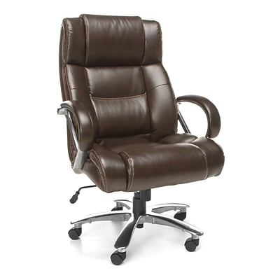 OFM Avenger Leather Executive Office Chair, Fixed Arms, Brown (810-LX-BRN)