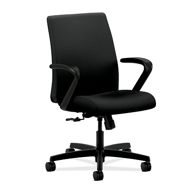 HON® Ignition® Mesh Low-Back Office/Computer Chair, Fixed Arms, Centurion Black Fabric